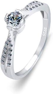 lem Abrillantador de anillosPlata esterlina 925 Brillante Corte Redondo Cristales Solitario Promesa para Siempre Eternidad...