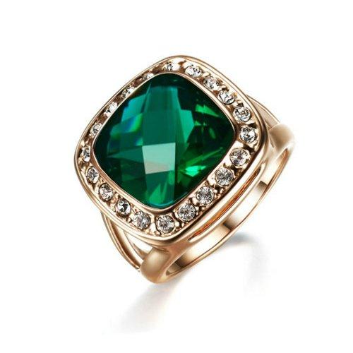 Yoursfs Elegante Verde Cristallo Anello 18k Oro Placcato con Luccicante Zircone Matrimonio Anello per Donne.