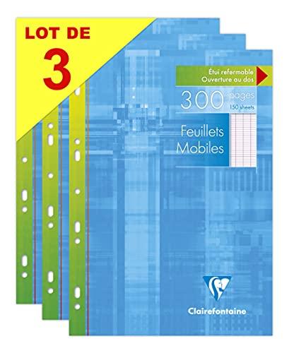 Clairefontaine 175511AMZC Lot de 3 Étuis de Feuillets Mobiles Perforés - A4 21x29,7 cm - 300 Pages Grands Carreaux - Papier Blanc 90 g - Étui Réutilisable