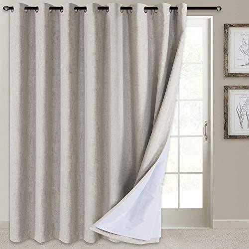 "100% Blackout Patio Door Curtain Extra Wide Curtain Panels Sliding Glass Door Curtain Linen Textured Look Grommet Blackout Curtains 84 Inch Length, 100"" x 84"", Beige"