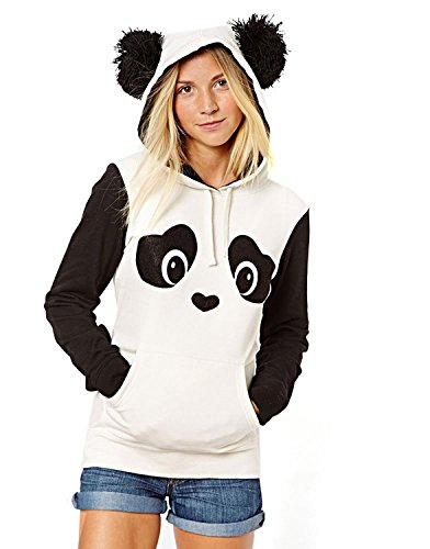 Minetom Damen Sweatshirt Pullover Fleece Jacke mit Öhrchen Panda (DE 34, One Color)
