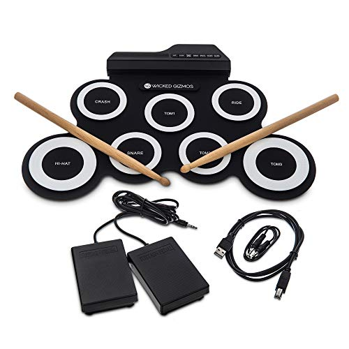 WICKED GIZMOS Electronic Drum Mat – Portable Roll Up Digital Music Pad...