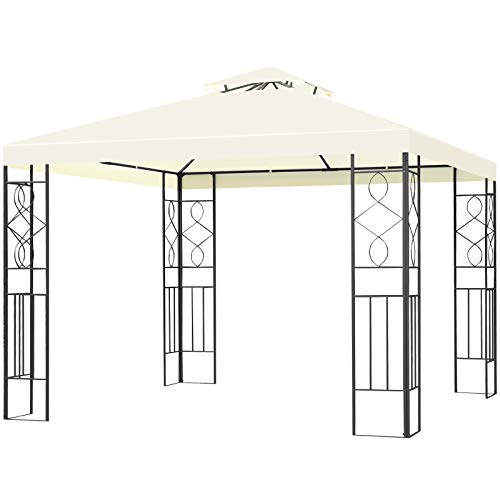 Tangkula 10 x 10FT 2-Tier Patio Gazebo, Outdoor Canopy Gazebo Tent with Vented Double Roof, Powder Coated Steel Structure, Sun Shading Gazebo Canopy Shelter for Home, Patio, Backyard, Garden (Beige)
