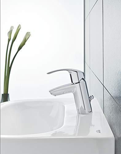 Grohe Eurosmart Waschtischarmatur, mit Zugstange, S-Size, Wasserhahn, Armatur, Waschtischarmatur, Waschbecken, Mischbatterie, Wasserkran (33265002) - 8