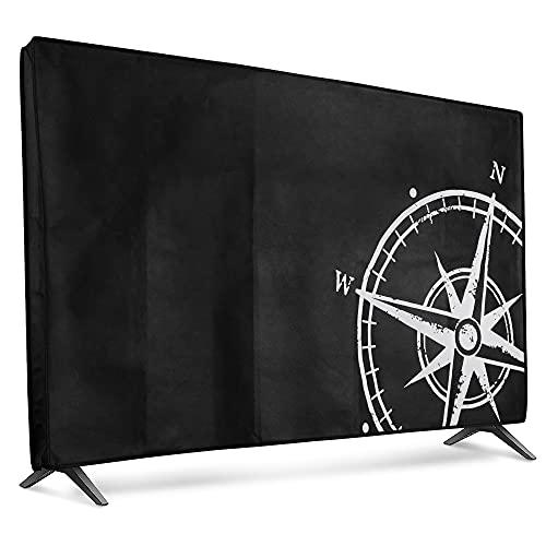 "kwmobile Funda para Monitor 55"" TV - Cubierta Protectora Aguja magnética en Blanco/Negro"