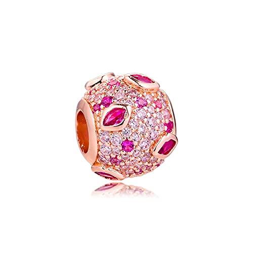 Pandora 925 Sterling Silver DIY Jewelry CharmCrystal para pulsera cuentas reales con banda de oro rosa joyería compatible con abalorios