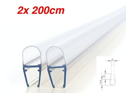 2x200cm Premium- Ersatzdichtung/Dichtung für Duschtür/für Dusche 6mm / 7mm / 8mm Glasdicke/Duschkabinen Duschdichtung mit Schwallschutz