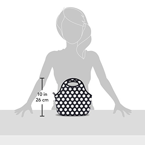 BUILT Gourmet Getaway Mini Snack Tote, One Size, Black and White Dots