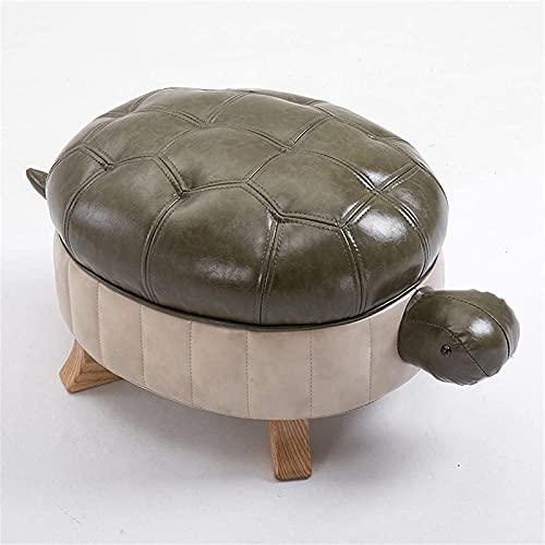 YiGanQiang Taburete de Cuero de Tortugas Creativas Sofá de Cuero, Taburete de Acento de Forma de Animal Dulce, Otomano de pies Cortos para Sala de Estar, Dormitorio, Armario