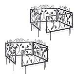 Relaxdays 8-teiliges Beetzaun Set, Metall, Beeteinfassung zum Stecken, 8 Vintage Zaunelemente mit Blättern, 4,5 m, schwarz