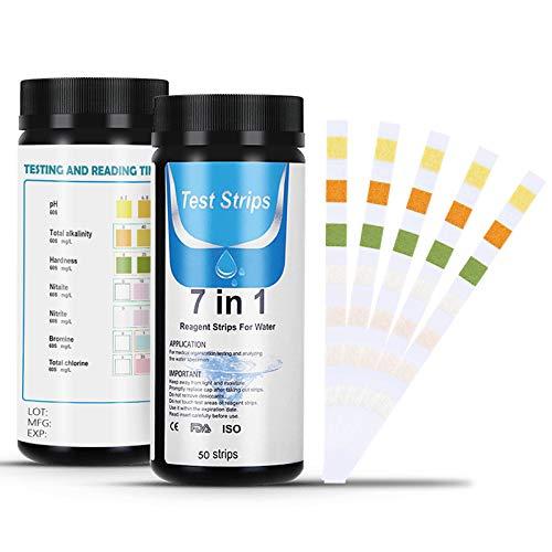 Dustgo Bandelettes de Test pour Piscine, 7 en 1 bandelette Test Piscine, Lot de 50 bandelettes pour Test de Qualité d'eau sur Chlore, Brome, Nitrite, Nitrate, Dureté, Alcalinité Totale, PH … (50)