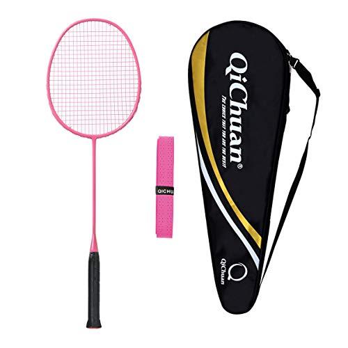 Whizz QICHUAN 100% Graphit One Piece Badminton Schläger Racket mit Tasche & Griffband (Rosa)