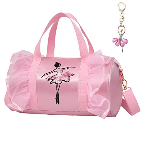 Cute Ballet Dance Bag with Key Chain Girls (Pink2 of Long Mesh)