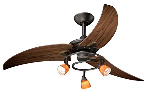 AireRyder FN48121OR Downrod Mount, 3 Walnut Blades Ceiling fan with 46 watts light, Oil-rubbed Bronze