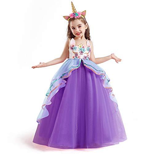 TTYAOVO Mädchen Einhorn Phantasie Prinzessin Kleid Kinder Blume Pageant Party Kleid Ärmellose Rüschen Kleider,Lila,5-6 Jahre (Etikette 130)