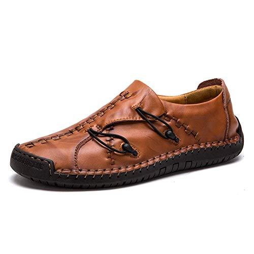 AONEGOLD® Herren Business Halbschuhe Mokassins Freizeit Schuhe Breathable Handgemachte Lederschuhe beiläufige Sneaker Rot-Braun EU 40