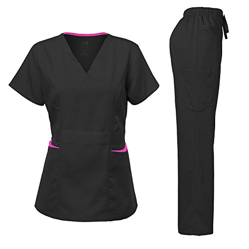 Medical Uniform Women's Scrubs Set Stretch Contrast Pocket Black S