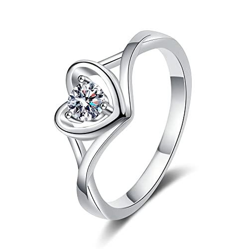 Anillo de anillo de boda en forma de corazón curvado de plata esterlina 925 Moda Moissanite Anillo de diamantes de cuatro puntas Joyas apilables Regalos para mujeres Navidad, Plata, 15