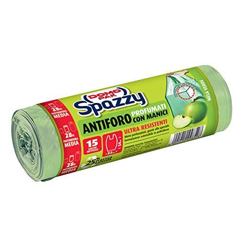 Domopak Spazzy Sacchi Nettezza Antiforo con Manici - Profumato alla Mela Verde - Casalingo 28 lt - Azzurro - 15 pz