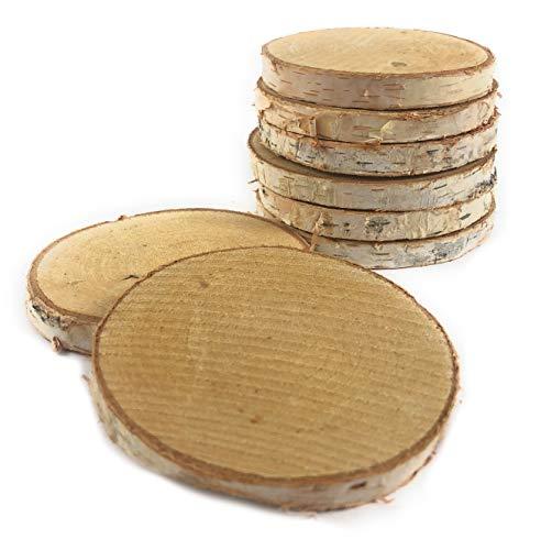 Marzoon 8X Holz Untersetzer Natur Holzscheiben mit Rinde Ø 8-10cm, Baumscheiben mit natürlicher Oberfläche zur...