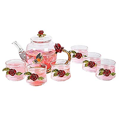 Iamagie Glass Teapot - 280 ml (9.47 oz) - with 6 Cups France Enamel Red Rose Flower Butterfly Decoration Heat Resistant Glass Teapot Kettle with Strainer for Blooming Tea, Loose Leaf Tea