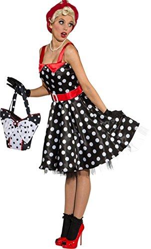 Rock n Roll Kleid schwarz weiss gepunktet, für Damen (40)