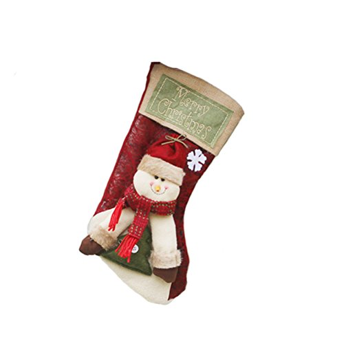 BESTOYARD Calza di Natale Xmas Candy Bag Santa Claus Gifts Bag Hanging Decor per Xmas Tree Fireplace Wall Door (Pupazzo di Neve, Taglia L)