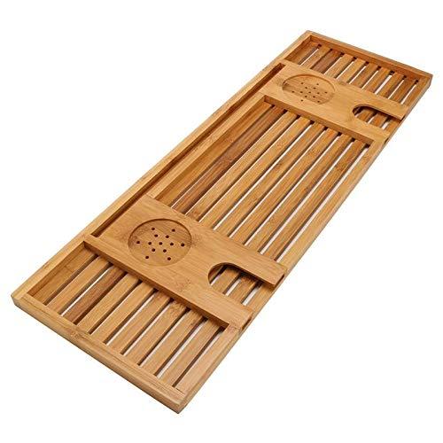 Jtoony Bathroom Trays Bamboo Bathtub Caddy Tray With Book Rack/Tablet Holder/Cellphone Tray/Wine Glass Holder