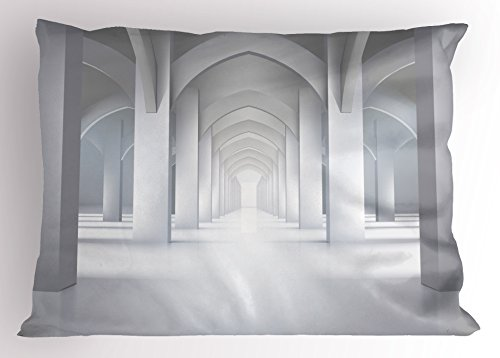 "Lunarable Antique Pillow Sham, Long Hallway Illustration Museum Exhibition Room Palace Style Design Architecture, Decorative Standard Size Printed Pillowcase, 26"" X 20"", White Grey"