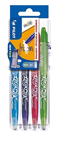 Pilot Pen 2260SG4L FriXion Ball - Bolígrafo (punta M 0,7, 4 unidades), color azul claro, rosa, morado y verde claro