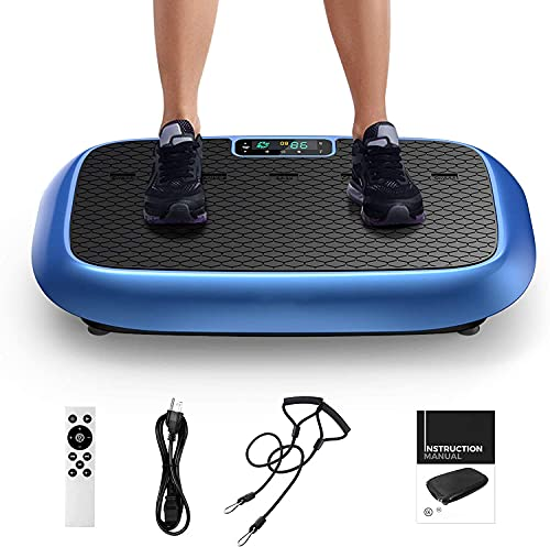 Natini Vibration Plate Exercise Machines, Whole Body Workout Vibrating Platform with Bluetooth Speaker for Home Fitness Training Equipment with Loop Bands Blue