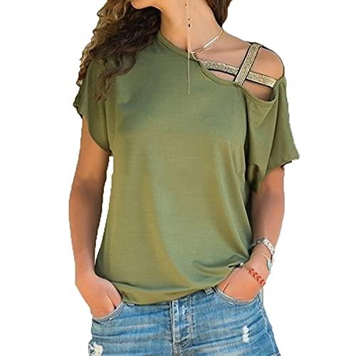 Camiseta De Mujer Verano Irregular Entrecruzado Manga Corta Sexy Fuera del Hombro Top Camisa SóLida De Un Hombro