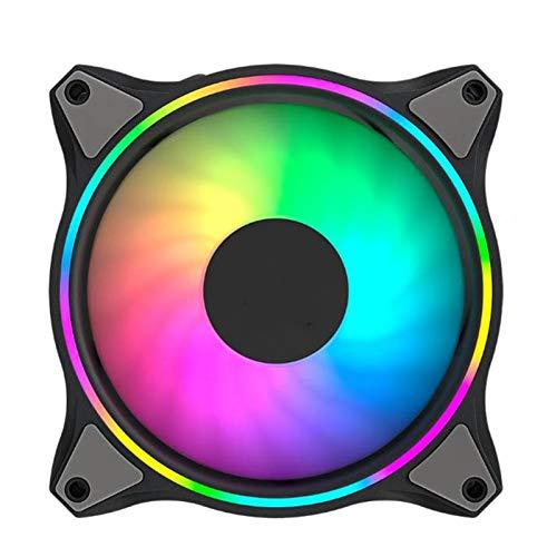 Radiador Alto flujo de aire que absorbe los golpes Ventilador de luz suave LED RGB 120 mm Doble bucle luz 21 teclas Control remoto por infrarrojos Fuente alimentación 12 V Ventilador de flujo