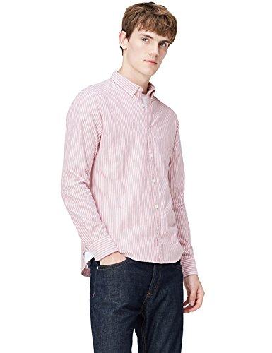 T-Shirts Camisa de Rayas Entallada con Cuello Óxford para