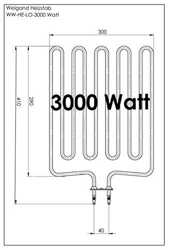 Weigand Heizstab 3000 Watt Universal für Saunaöfen I Ersatzteil passend z.B. für Harvia, Helo (SEPC), Knüllwald, Saunatec, Saunalux, Kipp, Topclass, Finnleo I Saunaofen I Zubehör I 3 kW