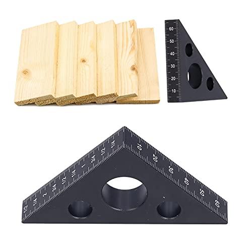 Herramienta de diseño de medición de aleación de aluminio, regla triangular de aleación de aluminio, herramienta de medición de medición de carpintería DIY para carpintería