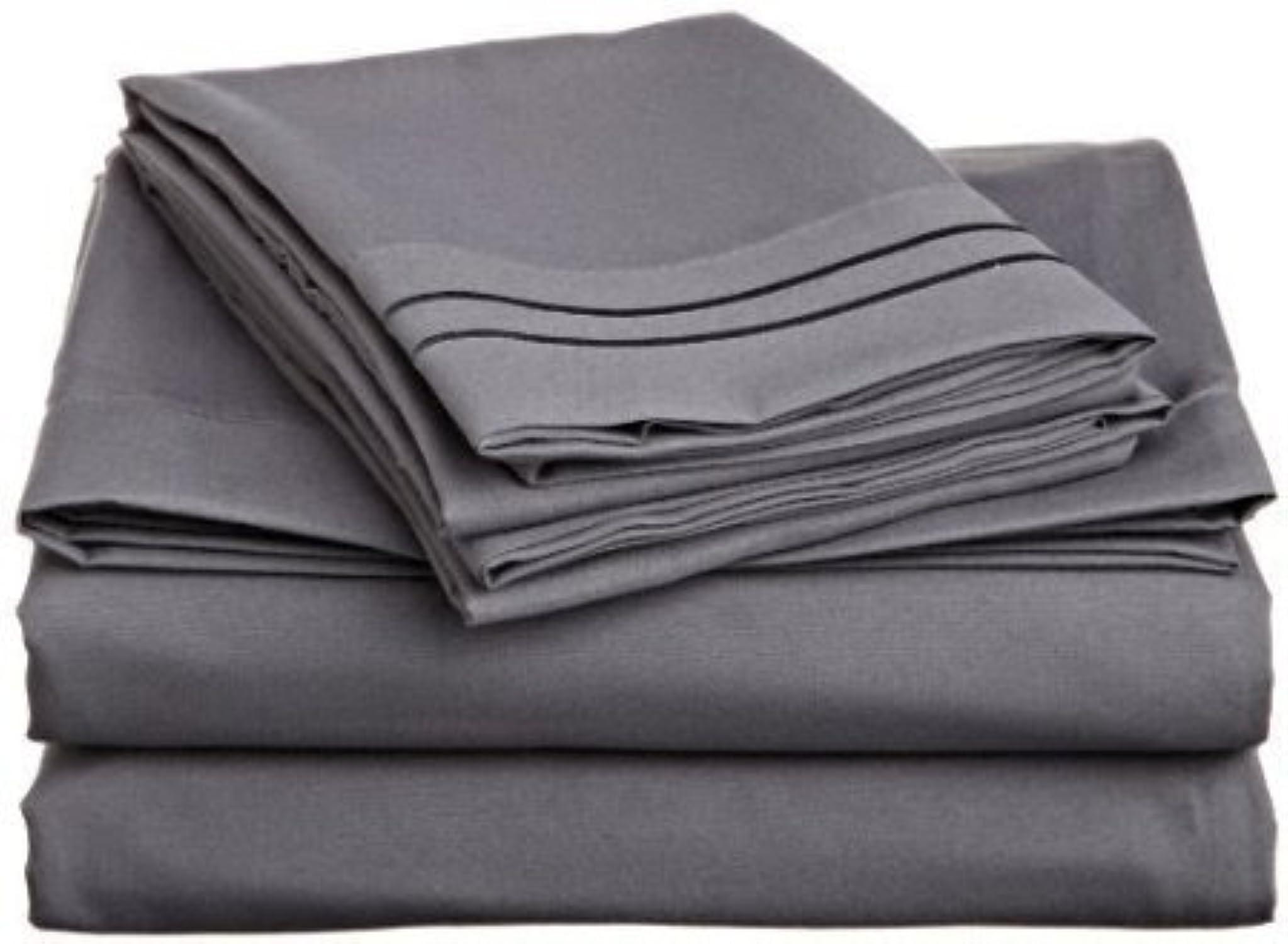 Premium de qualité 550-thread-count Coton égypcravaten de lit 76,2cm Poche profonde suppléHommestaire anglais Petite taille unique longue, éléphant gris gris foncé solide, 550tc Parure de lit de 100% coton