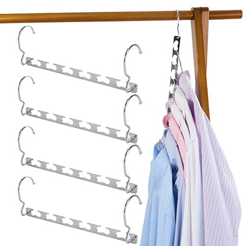 TOPIA HANGER Magic Hangers Space Saving Hanger Wonder Multifunctional Clothes Hangers Updated Design Wider Wavy Slots Heavy Duty Chrome Hangers Closet Organizer Hanger 4pcs CT11C