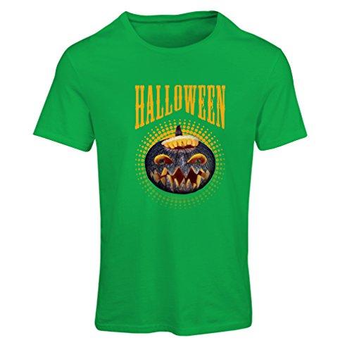 lepni.me Camiseta Mujer Calabaza de Halloween - Ideas del Traje del Partido 2017 (Small Verde Multicolor)
