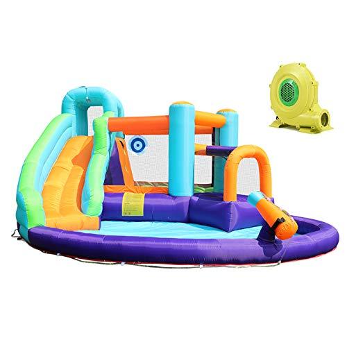 WANGZI Toboganes acuáticos inflables, casa de salto para niños con toboganes largos para escalar, gran salpicadero, piscina, cañones de agua para parque acuático inflable al aire libre