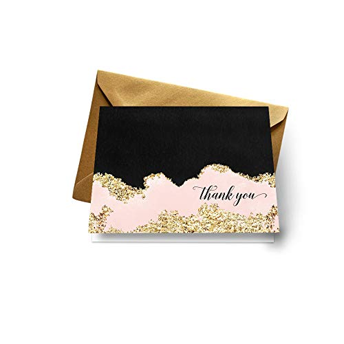 Chic Thank You Cards with Gold Envelopes for Weddings Baby Shower Everyday Occasions (Pack of 20) Pink Black and Gold