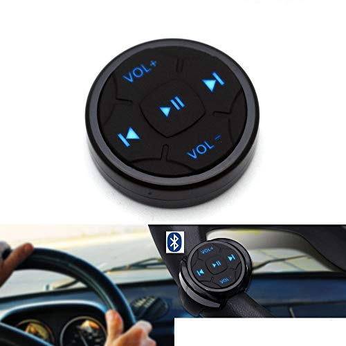 YuYue Wireless Bluetooth Media Button Remote Selfie Music Control Start Siri for iPhone or Android Apply to Car Motorcycle Steering Wheel with Blue Button Light,Come with Mount