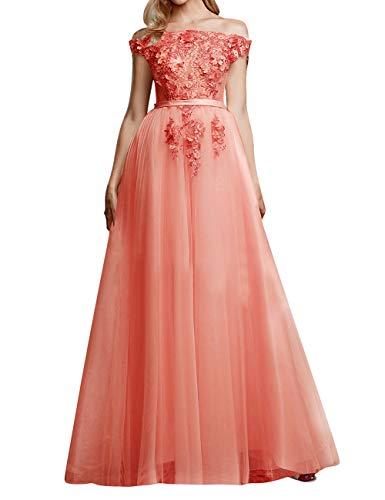 Vintage Brautkleid Abendkleider Lang A-Linie Tüll Ballkleider Hochzeitskleider Standesamt Partykleider Festkleider Koralle 34