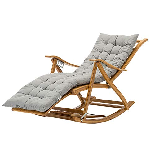 Recliner Faltbarer Outdoor-Bambus-Schaukelstuhl, Einstellbarer Häuslicher älterer Stuhl, Tragbare Gartenterrasse Sonnenliege, Mit Verlängerten Pedalen, Ladung 200kg(Color:Stuhl + graues Kissen)