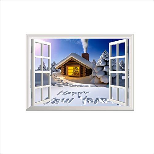 Adesivo per Finta Finestra,3D Natale Bellissima Scena di Neve Wall Stickers per Arredamento di Casa Soggiorno Camera da Letto Le Decalcomanie di Arte Murale Adesivo Poster
