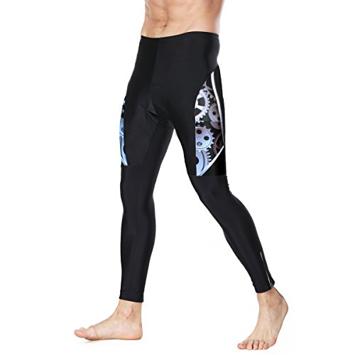 Twotwowin Mens Cushioning Long Cycling Pants CK101, Bike Compression Pants 3D Padded Tights For Men and Boy, Pocket and Strong Machine Gears Design (M(Waist 28.3-31.5in))