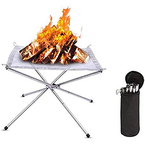 HLDUYIN Portable Outdoor Fire Pit Wood Stove Burner Collapsible Foldable Stainless Steel Firepit Fireplace Space Saving Perfect for Camping Backyard Patio Travel Picnic-Carrying Bag Included