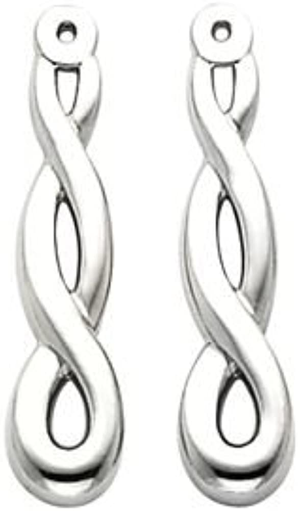 FB Jewels 14k White Gold Right Polished Earrings Jacket