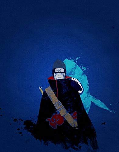 GUANGZHENG Naruto Serie/Hoshigaki Kisame Blauer Hintergrund Muster / 5D DIY Diamant-Malerei/Rhinestone-Stickerei Handwerk/Ausgangswand-Dekoration/Puzzle Eltern-Kind-Interaktives Spiel