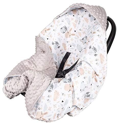 Babydecke MINKY mit Kapuze 90x90 cm Einschlagdecke Babyschale Kinderwagen Decke (Lichtung/Grau)
